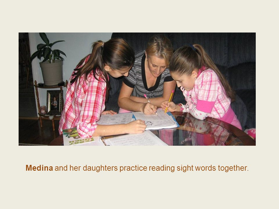 Medina and her daughters practice reading sight words together.