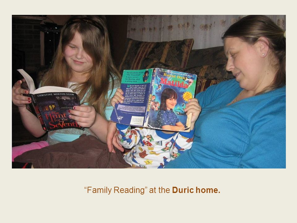 Family Reading at the Duric home.