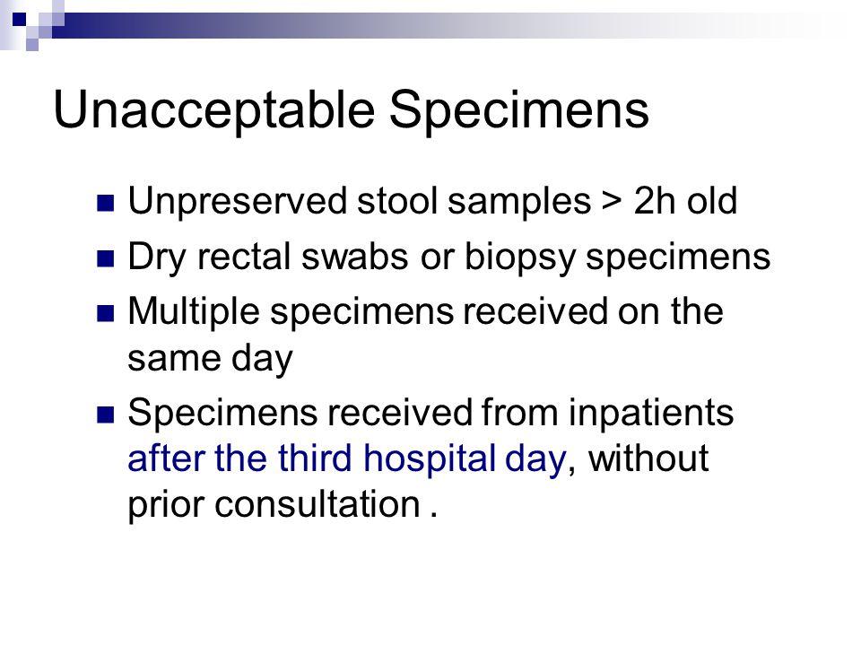 Unacceptable Specimens