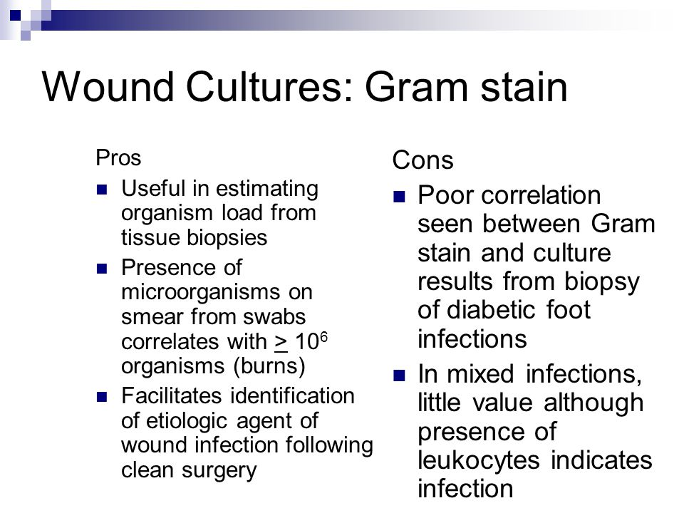 Wound Cultures: Gram stain