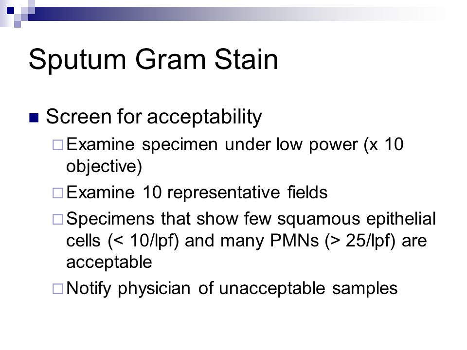 Sputum Gram Stain Screen for acceptability