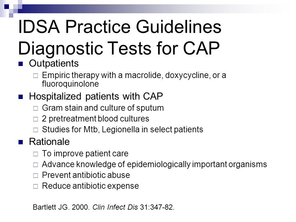 IDSA Practice Guidelines Diagnostic Tests for CAP
