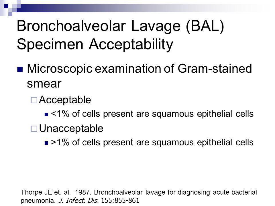 Bronchoalveolar Lavage (BAL) Specimen Acceptability
