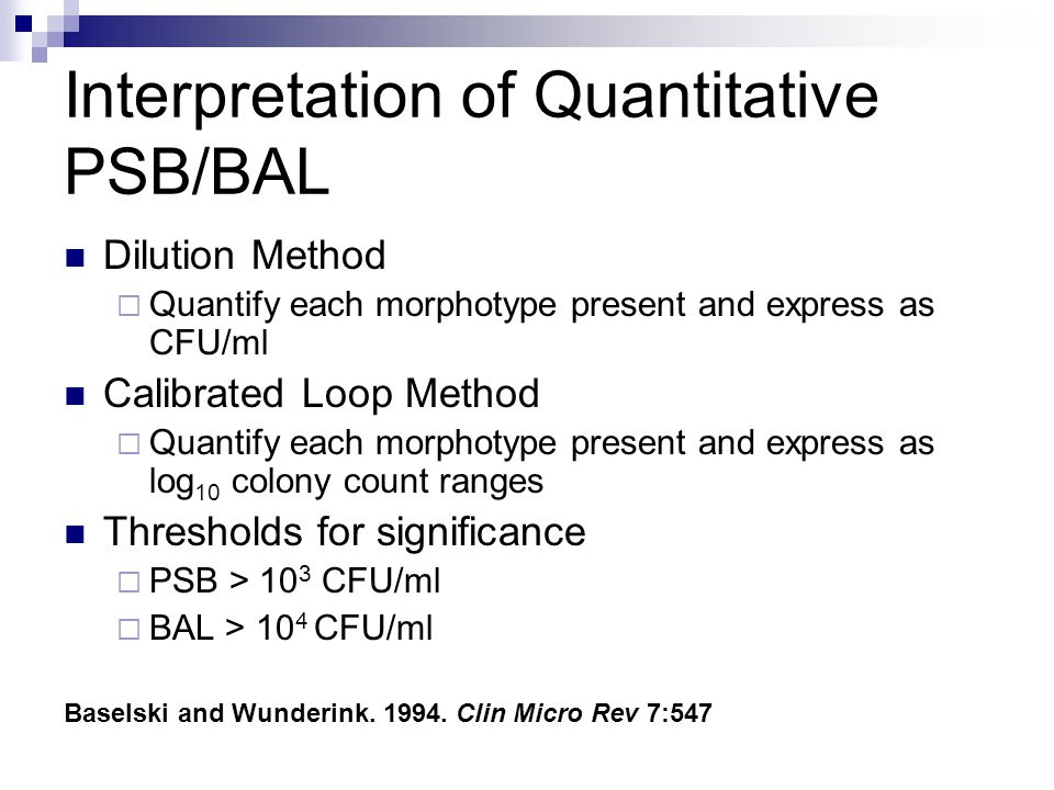 Interpretation of Quantitative PSB/BAL