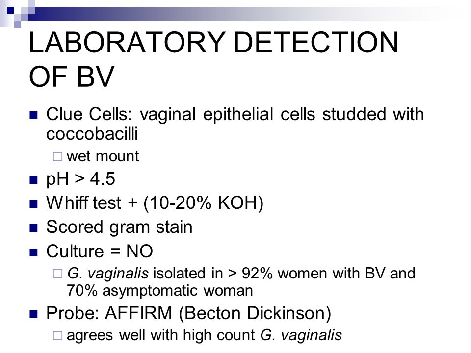 LABORATORY DETECTION OF BV