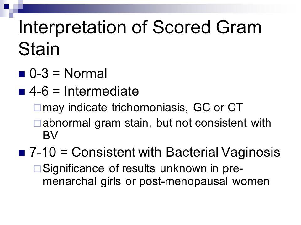 Interpretation of Scored Gram Stain