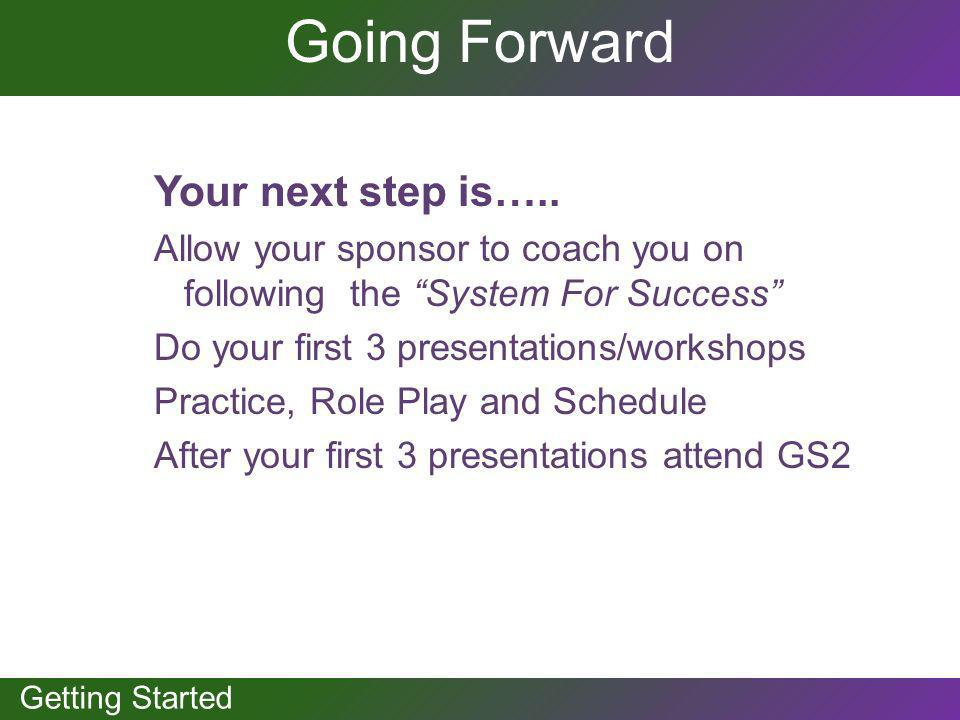 Going Forward Your next step is…..