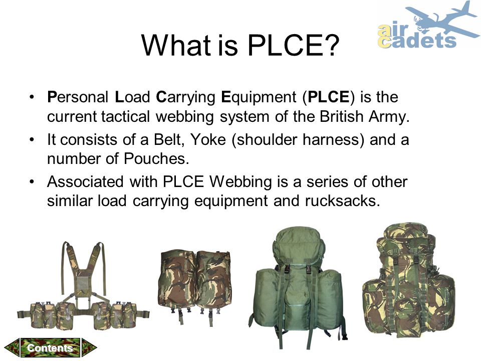 What is PLCE Personal Load Carrying Equipment (PLCE) is the current tactical webbing system of the British Army.