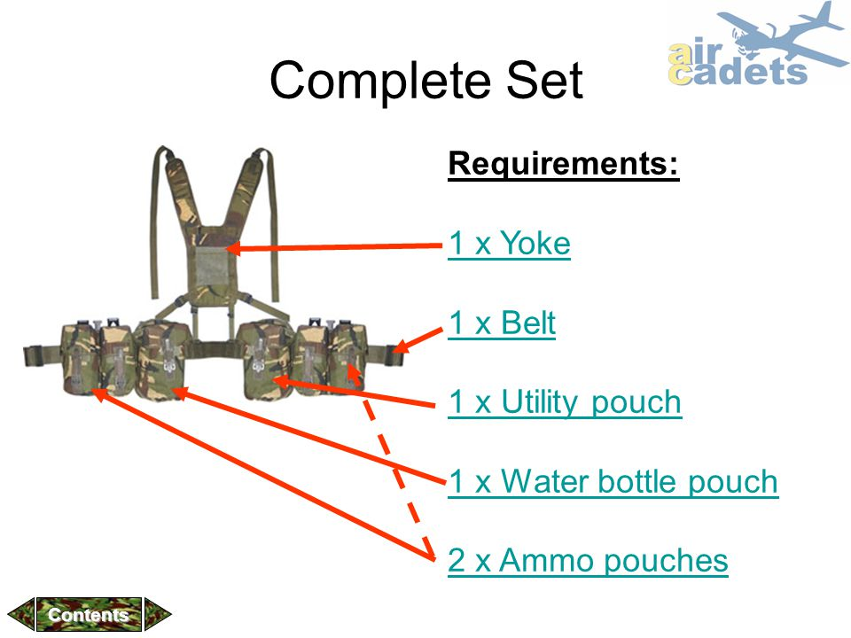 Complete Set Requirements: 1 x Yoke 1 x Belt 1 x Utility pouch