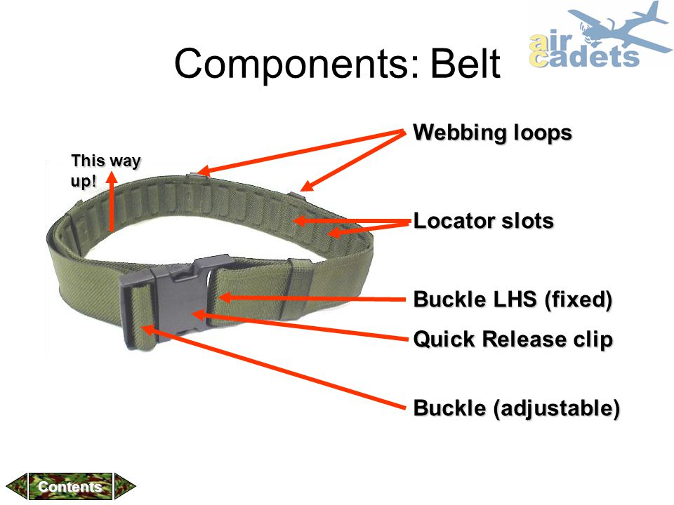 Components: Belt Webbing loops Locator slots Buckle LHS (fixed)