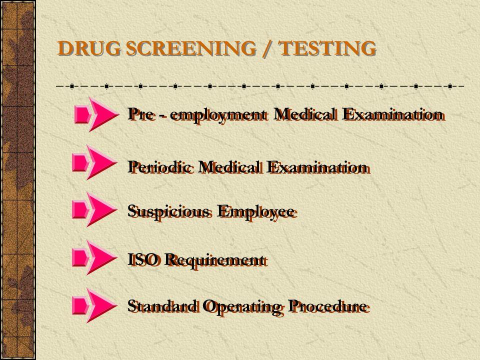 DRUG SCREENING / TESTING