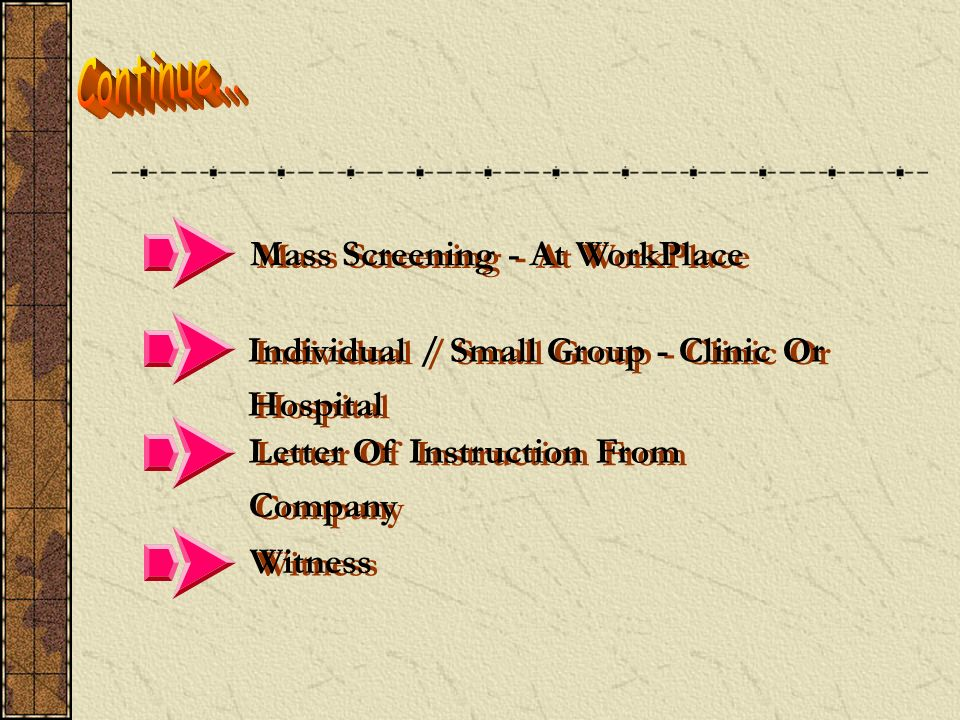 Continue... Mass Screening - At WorkPlace