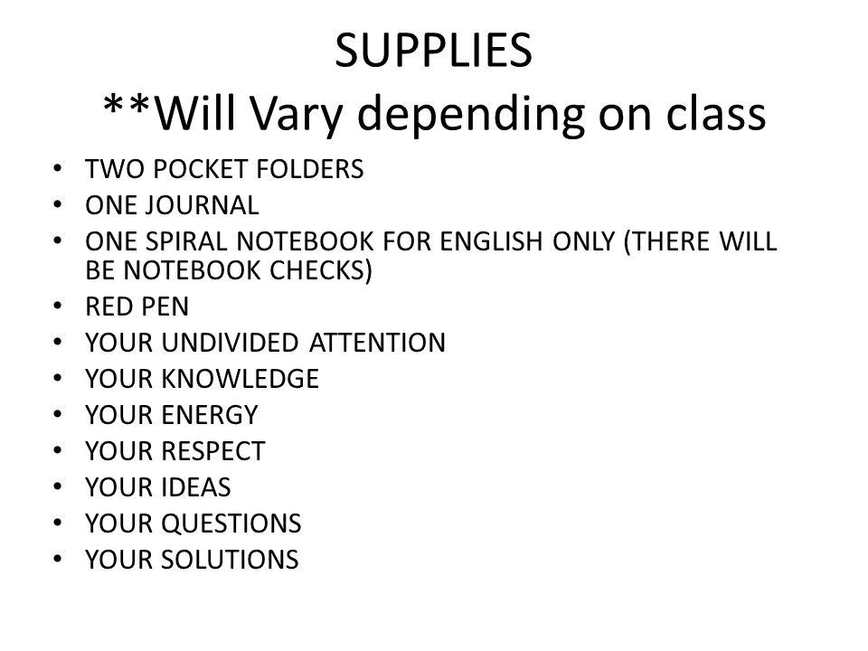 SUPPLIES **Will Vary depending on class