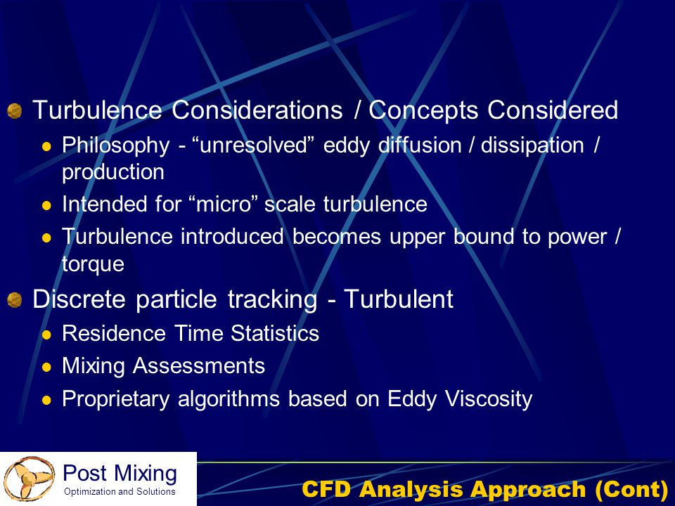 CFD Analysis Approach (Cont)