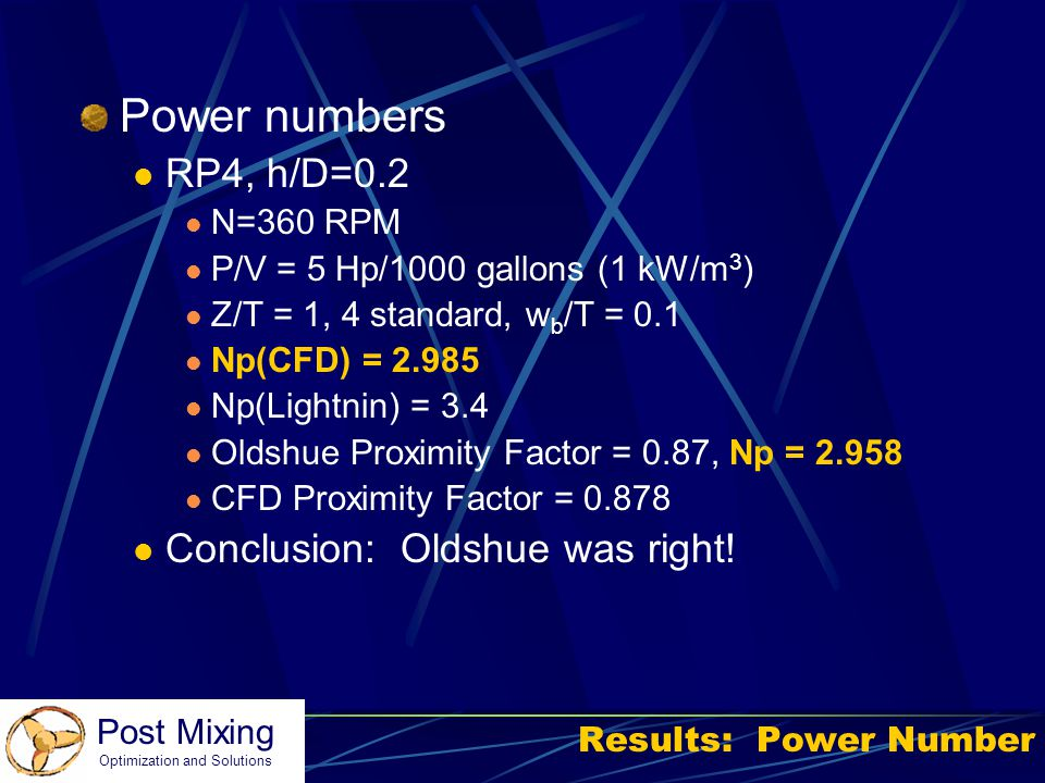 Power numbers RP4, h/D=0.2 Conclusion: Oldshue was right! N=360 RPM