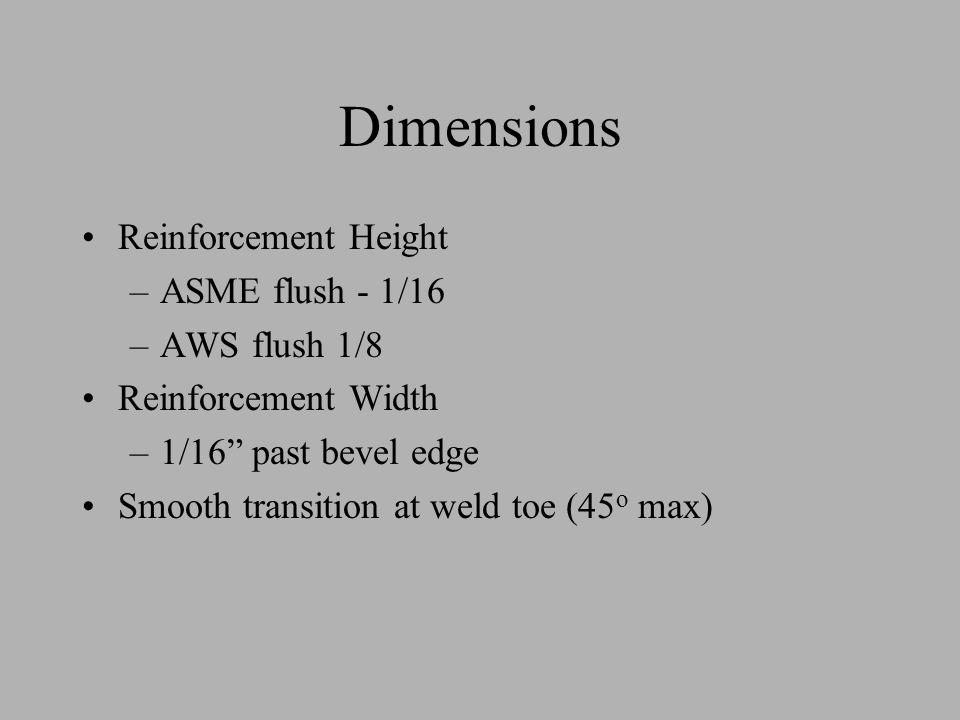 Dimensions Reinforcement Height ASME flush - 1/16 AWS flush 1/8