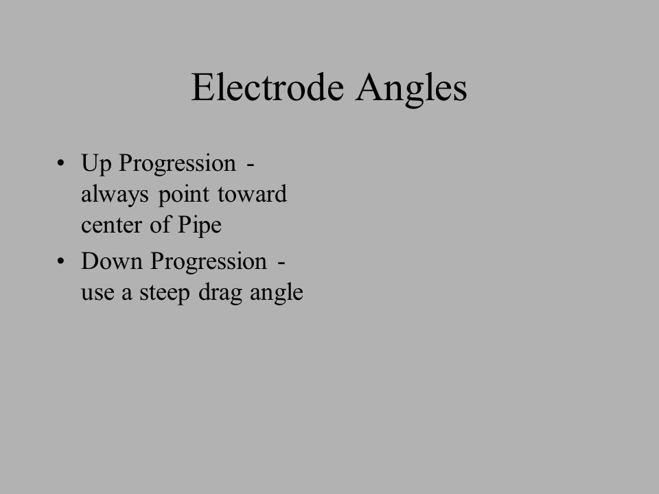 Electrode Angles Up Progression - always point toward center of Pipe