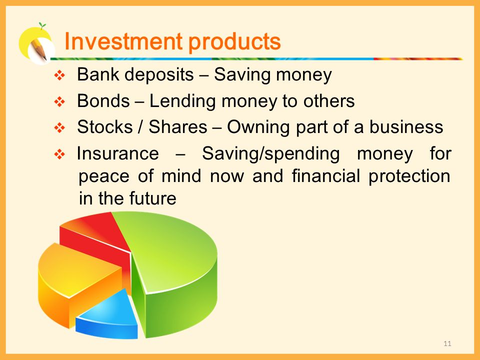 Investment products Bank deposits – Saving money