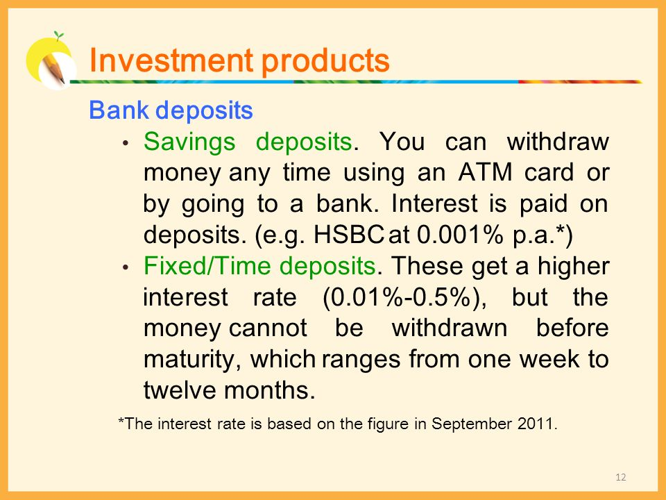 Investment products Bank deposits