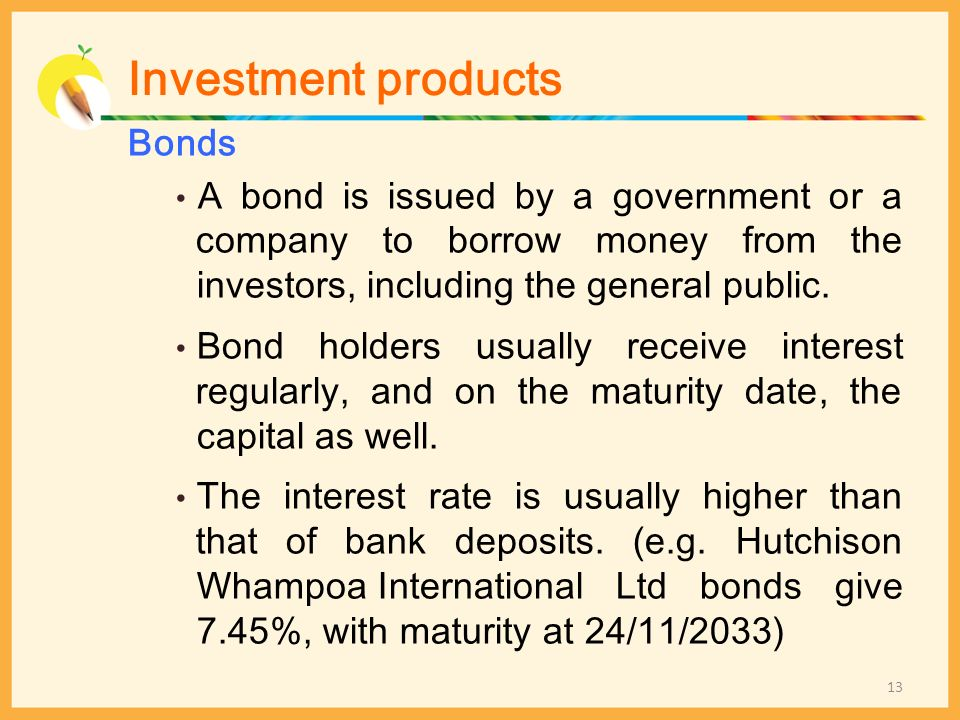 Investment products Bonds