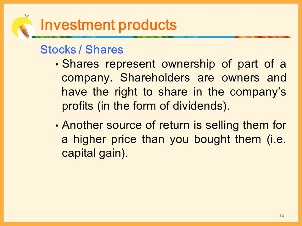 Investment products Stocks / Shares