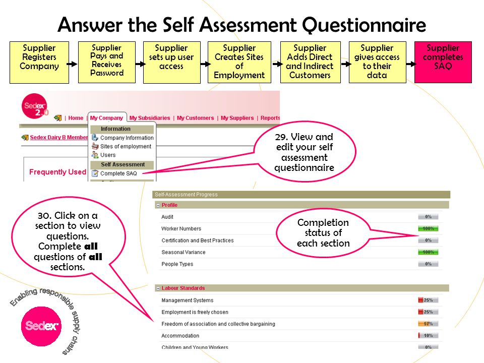 Answer the Self Assessment Questionnaire