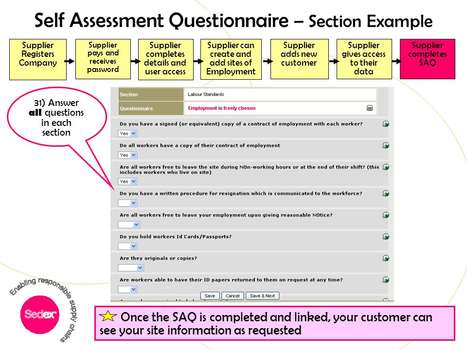 Self Assessment Questionnaire – Section Example