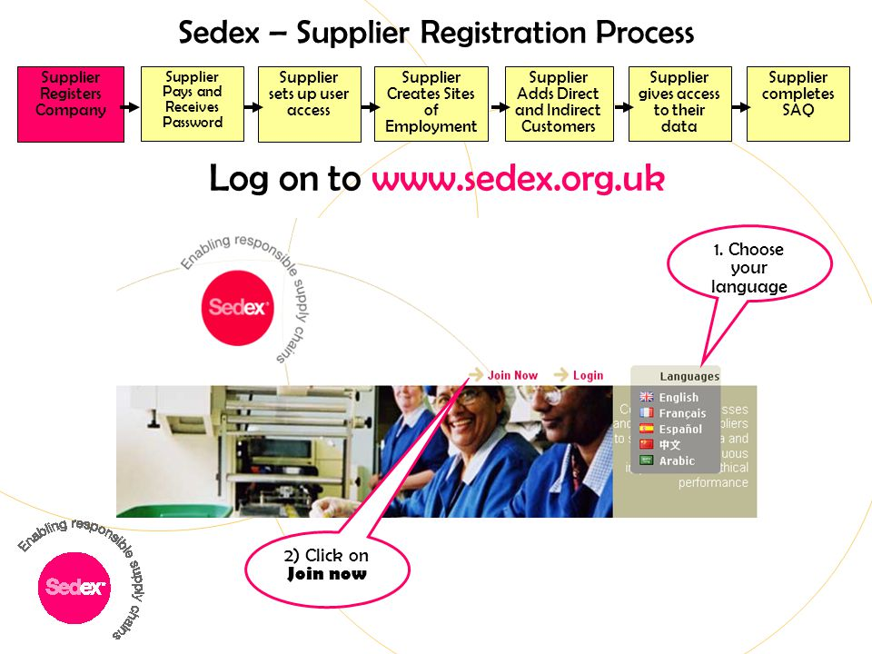 Log on to www.sedex.org.uk