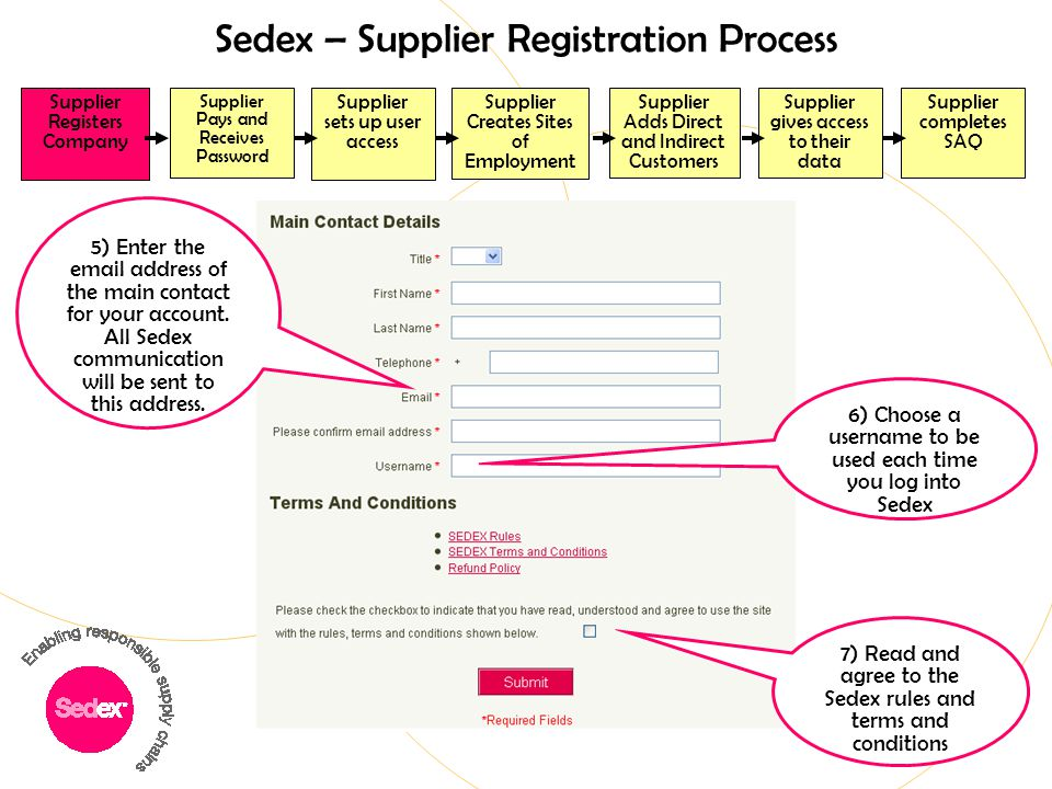 Sedex – Supplier Registration Process