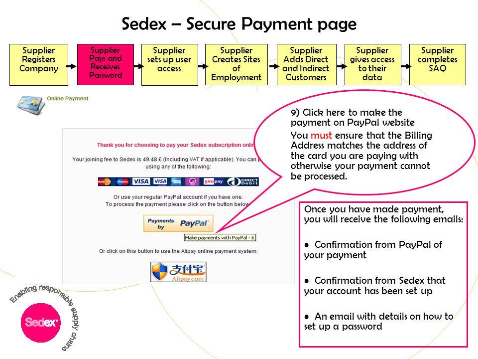 Sedex – Secure Payment page