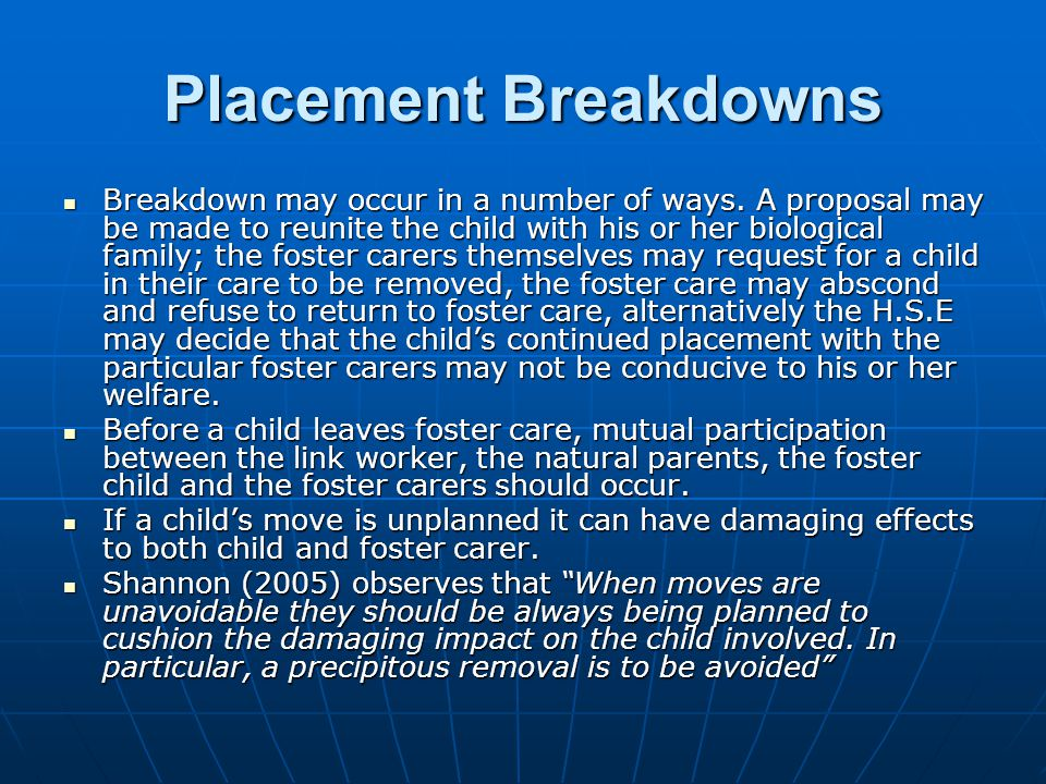 Placement Breakdowns
