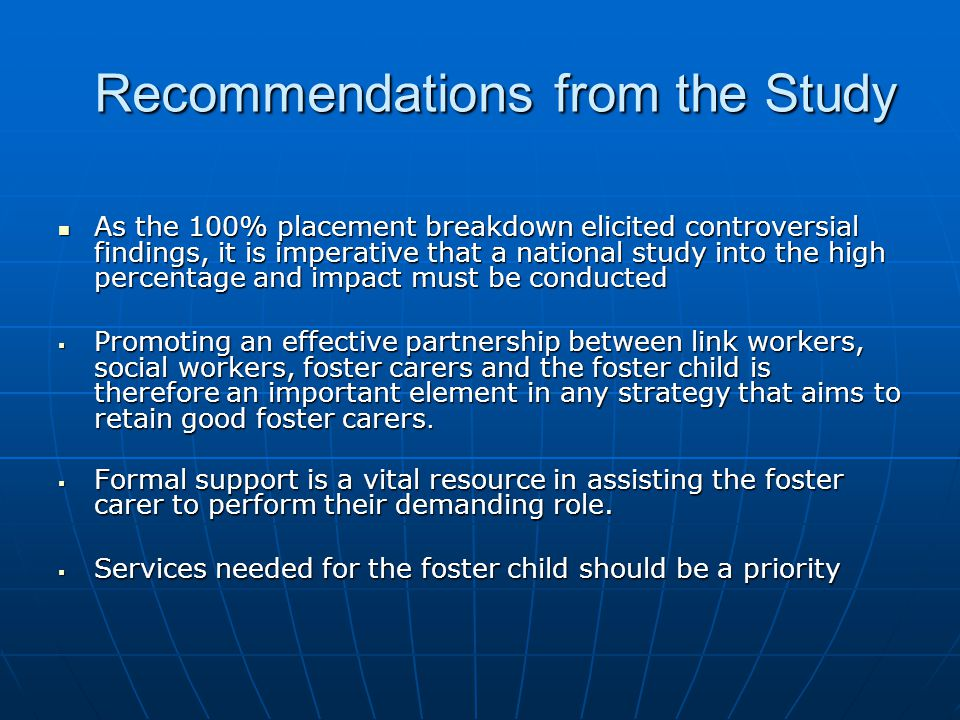 Recommendations from the Study