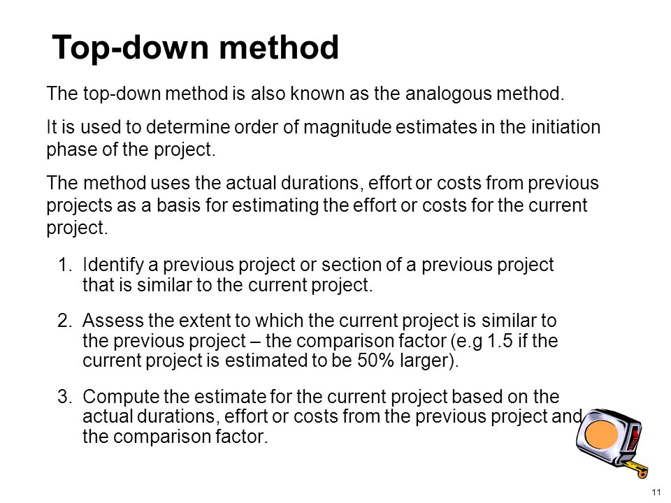 Top-down method The top-down method is also known as the analogous method.