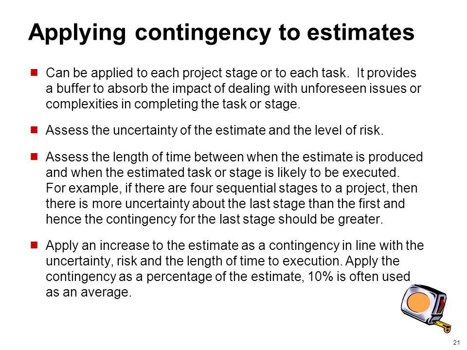 Applying contingency to estimates