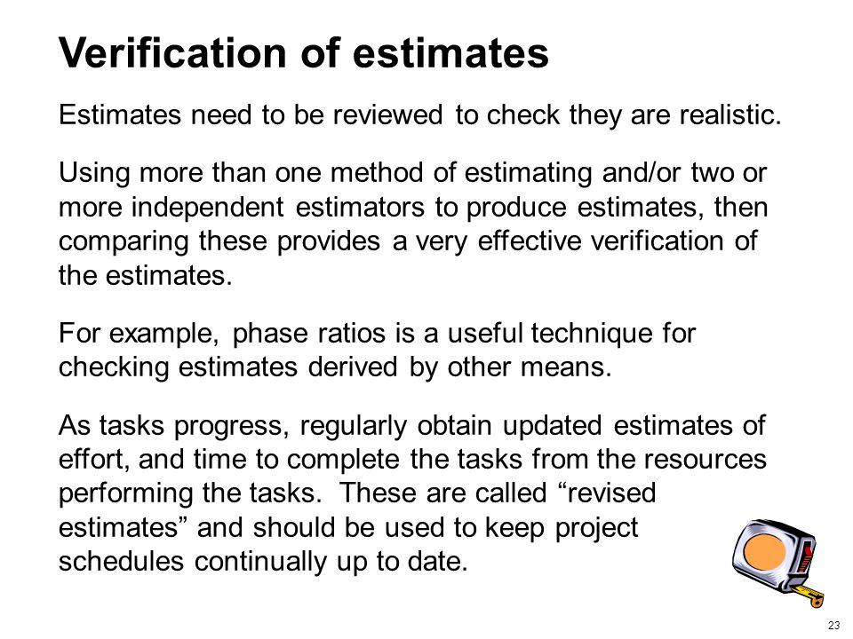 Verification of estimates