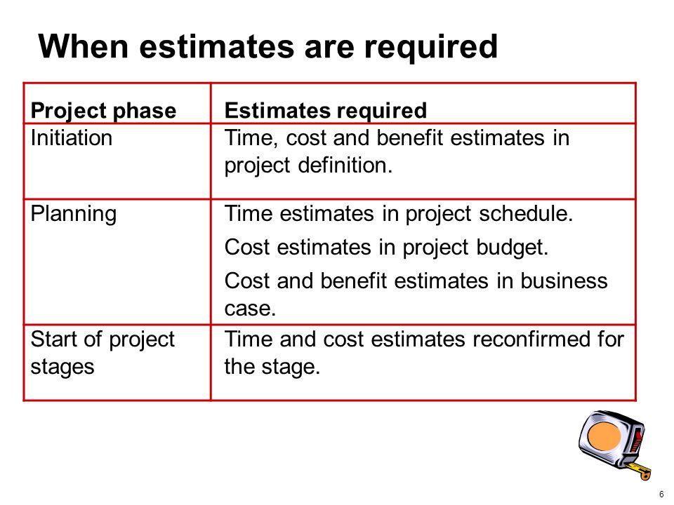 When estimates are required