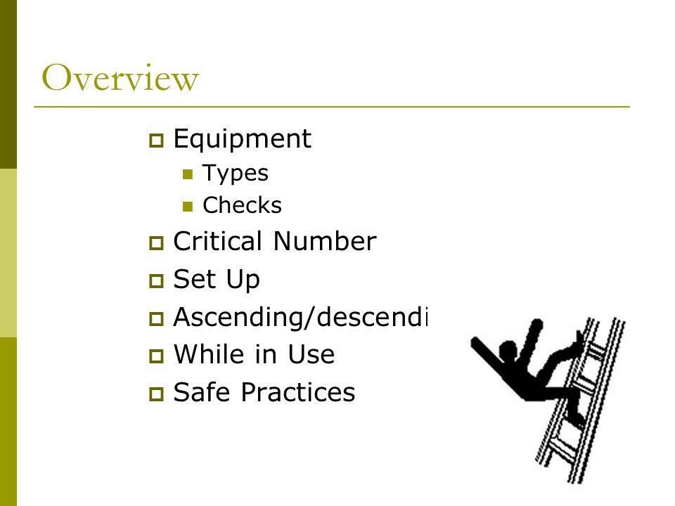 Overview Equipment Critical Number Set Up Ascending/descending