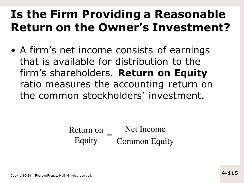 Is the Firm Providing a Reasonable Return on the Owner's Investment