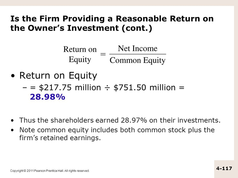 Is the Firm Providing a Reasonable Return on the Owner's Investment (cont.)