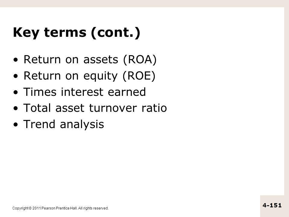 Key terms (cont.) Return on assets (ROA) Return on equity (ROE)