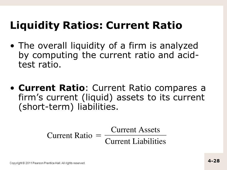 Liquidity Ratios: Current Ratio
