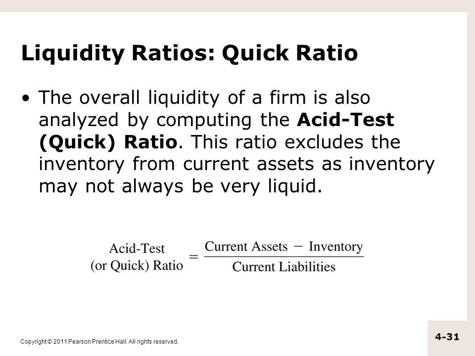 Liquidity Ratios: Quick Ratio