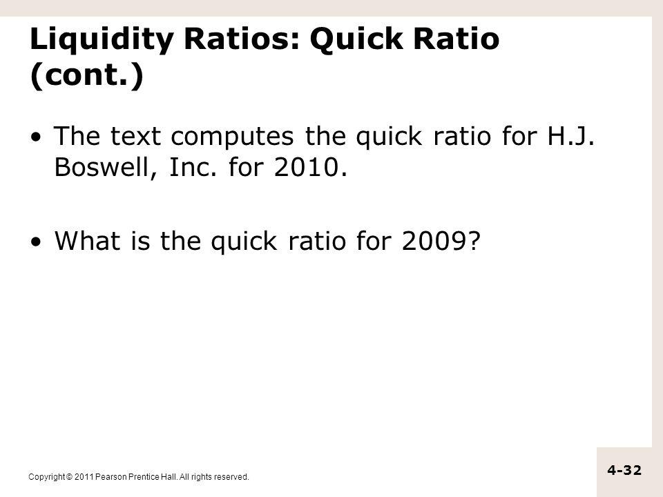 Liquidity Ratios: Quick Ratio (cont.)