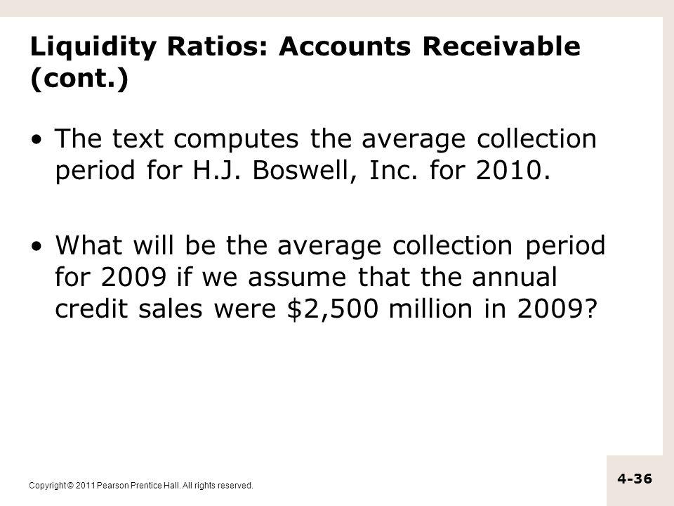 Liquidity Ratios: Accounts Receivable (cont.)