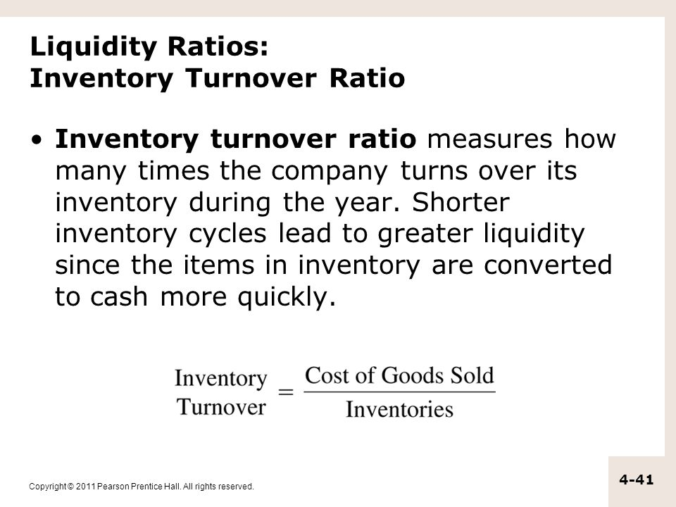 Liquidity Ratios: Inventory Turnover Ratio