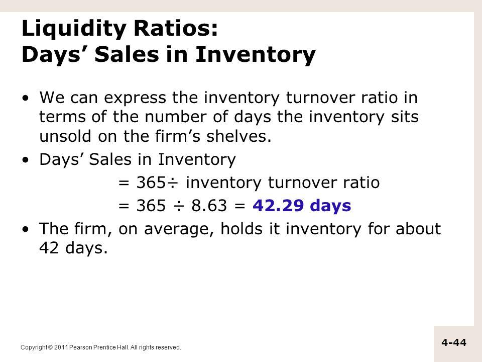 Liquidity Ratios: Days' Sales in Inventory