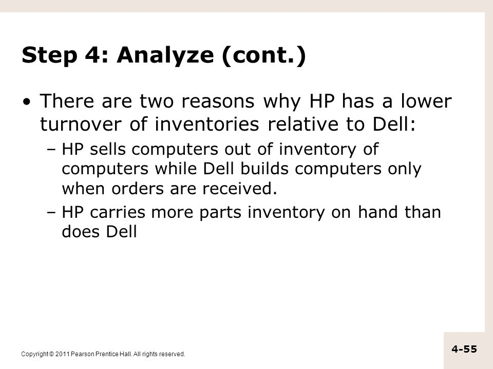 Step 4: Analyze (cont.) There are two reasons why HP has a lower turnover of inventories relative to Dell: