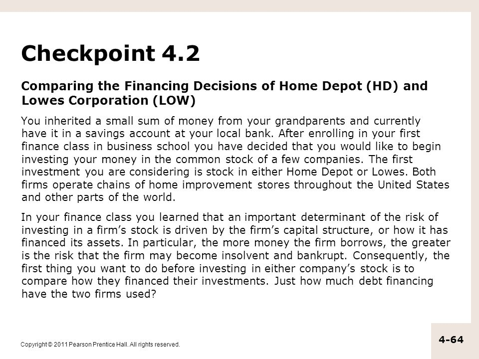 Checkpoint 4.2 Comparing the Financing Decisions of Home Depot (HD) and Lowes Corporation (LOW)