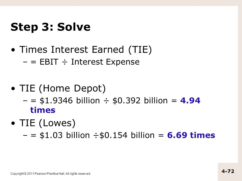 Step 3: Solve Times Interest Earned (TIE) TIE (Home Depot) TIE (Lowes)