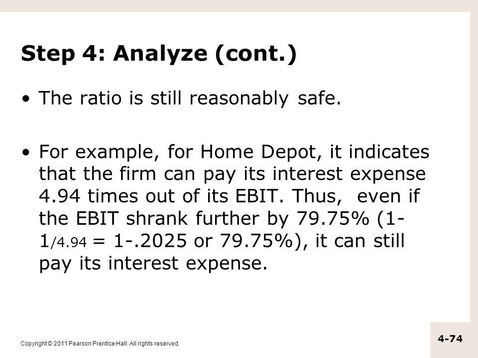 Step 4: Analyze (cont.) The ratio is still reasonably safe.
